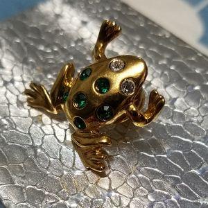 Cute Avon vintage goldtone crystal frog lapel pin